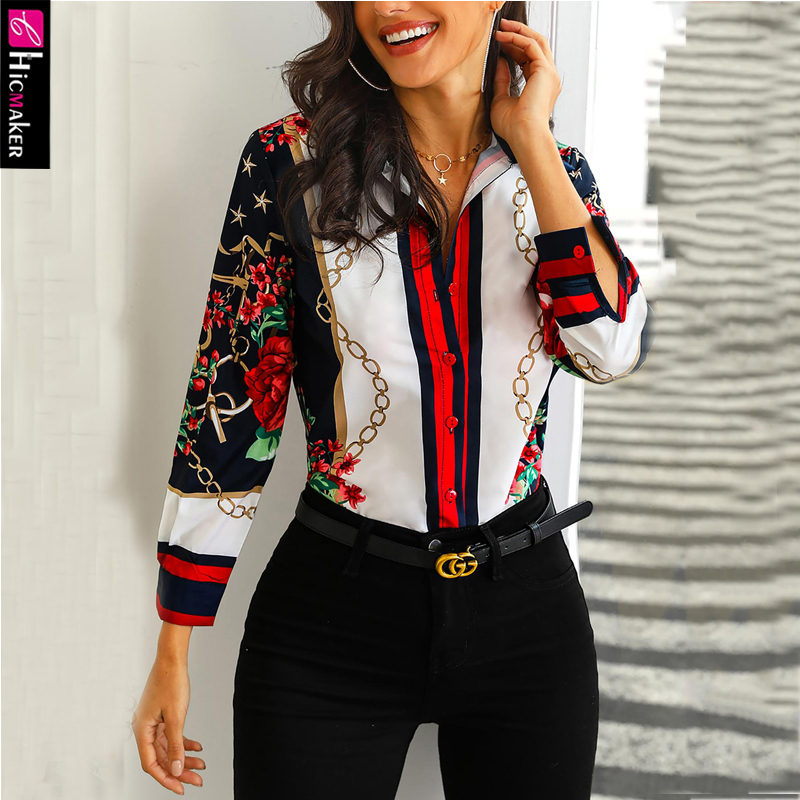 Floral & Chains Print Casual Blouse Chic Office Lady Elegant Spring Fall Top Shirt Streetwear Women Long Sleeve Shirts