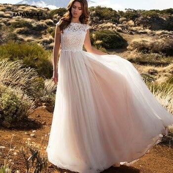 Boho Ivory Wedding Dress 2020 for Women A-Line Puff  Beach Bride White Lace Top Vestido De Novia Robe Mariage Online Shop India - discount item  30% OFF Wedding Dresses
