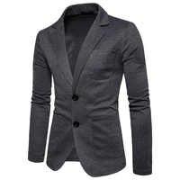 OLOME Fashion Mens Cotton Blazer Autumn New Male Casual Suit Jackets Business 2019 Clothes Solid Slim Fit Clothes Plus Size