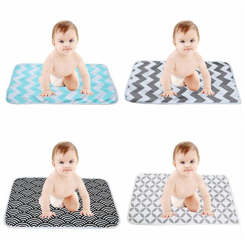 Any Season Newborn Baby Cute Ripple Portable Diaper Changing Pad Foldable Washable Waterproof Travel Baby Nursing Floor Play Mat