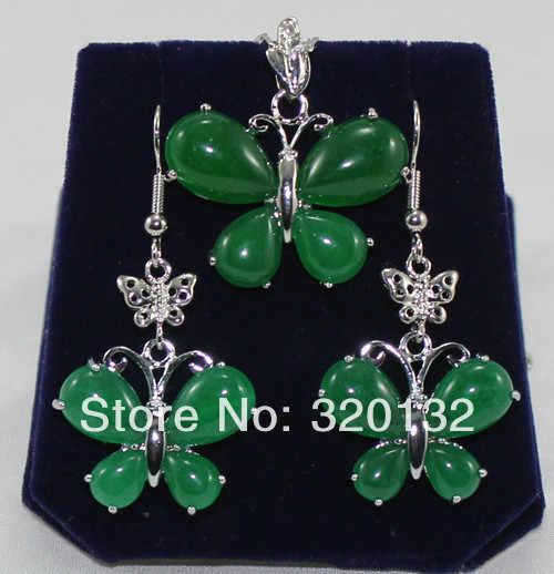 משלוח חינם >>@> די טבעי ירוק אבן פרפר תליון שרשרת עגילי סט כסף זהב מצופה תכשיטי סטי משלוח s