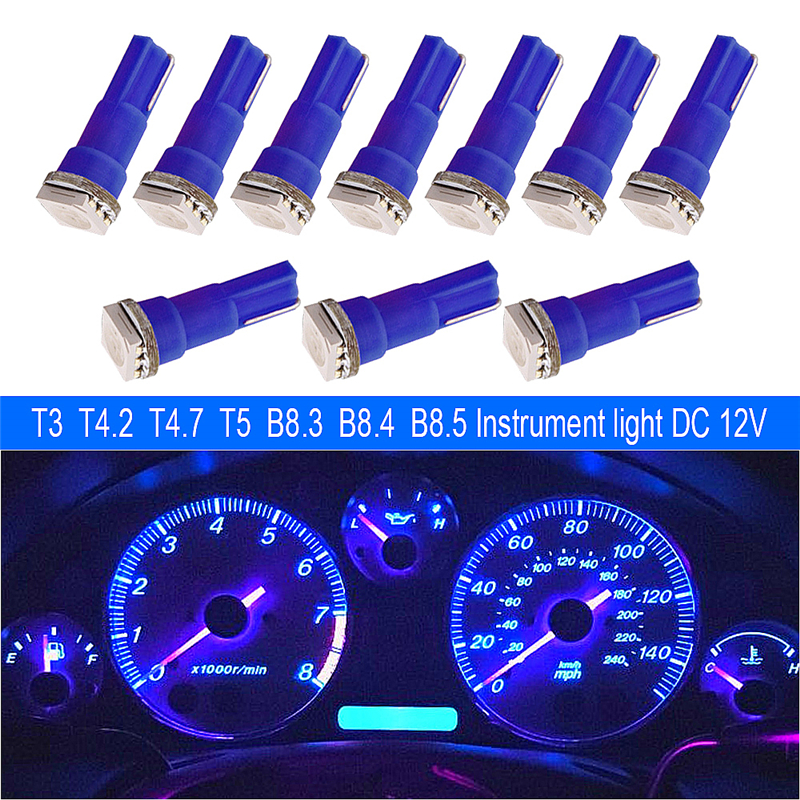 <font><b>10</b></font> x T5 LED 12516 W1.2W Car Interior Lamp <font><b>5050</b></font> SMD Gauge Instrument Auto Bulb 12V Atmosphere image