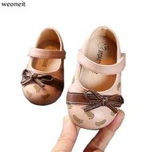 Weoneit/От 0 до 2 лет; весенне-Осенняя детская обувь для маленьких девочек; повседневная кожаная детская обувь принцессы с бабочками; цвет черный, розовый; CN 15-25