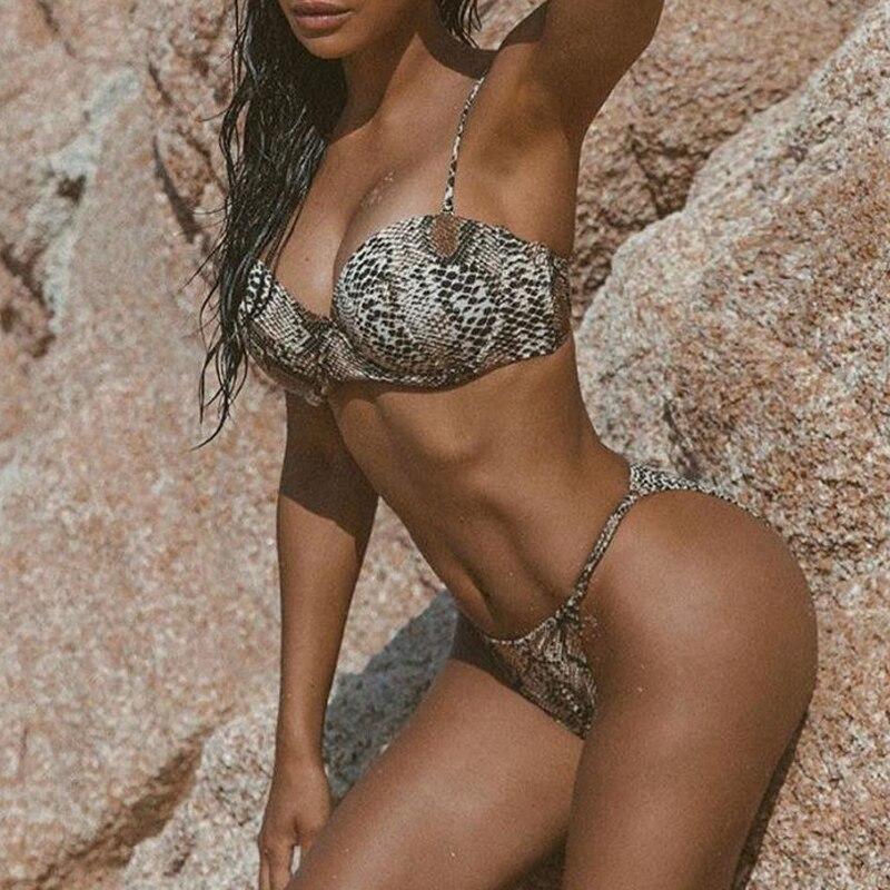 Hc5af1416652b42b39685d019b36665efP Snake print bikini Push up swimsuit female bathing suit String thong Brazilian bikini 2019 High cut swimwear women Sexy biquini