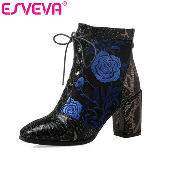 ESVEVA 2020 Women Shoes Winter Ankle Boots Western Pointed Toe Lace Up Leather+PU High Heel Motorcycle Boot Size 34-43