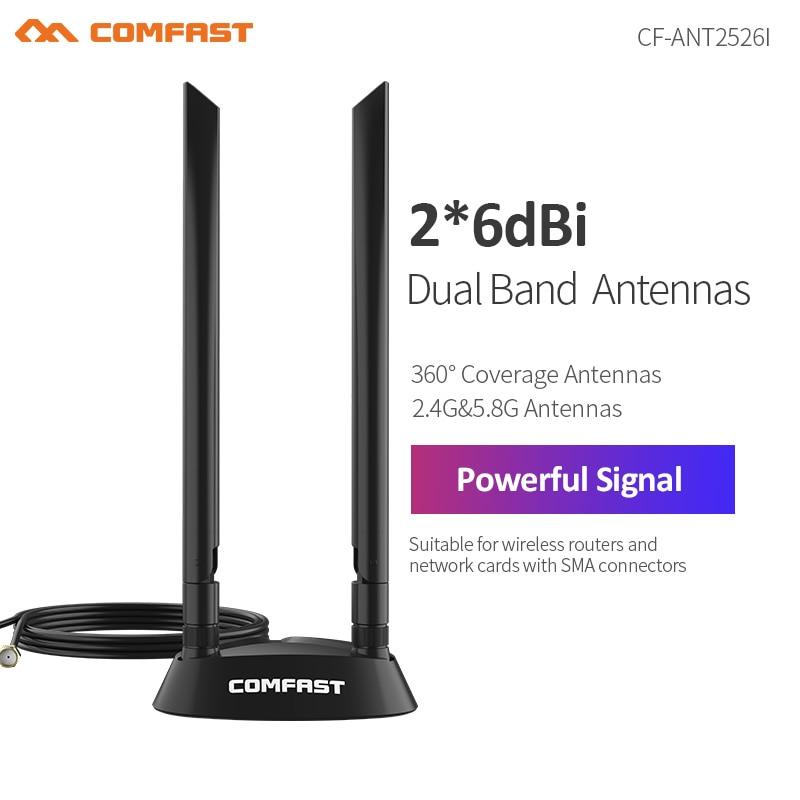 2 * 6dbi двухдиапазонный 2,4 + 5 ГГц 360 ° SMA ммнинаправленный 1,2 м удлинитель антенна для беспроводного маршрутизатора сети Crad