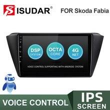 Autoradio do andróide de isudar v57s para o rádio do carro de skoda fabia 2015-2019 com tela gps sistema de controle de voz estéreo fm canbus nenhum 2 din