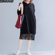 DIMANAF Plus Size Women Hoodies Vestidos Autumn Winter Long Sleeve Big Loose Cotton Black Female Shirts Hooded Lace Spliced