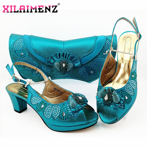 Image 5 - Latest Dark Green Color Matching Shoes and Bag Set for Italian Party Nigerian Ladies Mature Style with Crystal Shoes and Bag Set