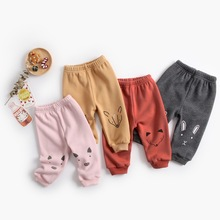 все цены на Autumn Winter Baby Pants Cotton Full Length Kids Clothing High Waist Solid Unisex Toddler Trousers for 0-3Y Children Costume онлайн