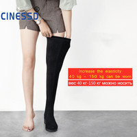 CINESSD Size 44 Thigh High Boots For Women's Winter Over Knee Boots Women Black Slim Warm Shoes Woman Elastic Botas altas Mujer