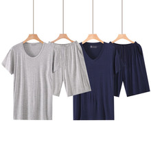 Plus tamanho 6xl verão modal manga curta conjuntos de pijamas masculinos conjunto de pijama masculino sólido fino pijama para homem pijamas terno homewear