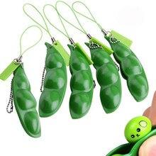 Zabawki typu Fidget dekompresyjne zabawki edame pop it Squishy Squeeze Peas Beans brelok śliczny stres zabawka dla dorosłych gumowe chłopcy świąteczny prezent