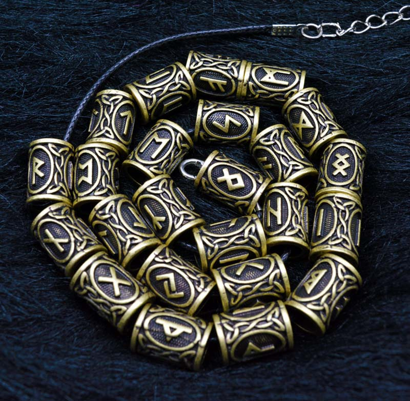 24Pcs Sliver Bronze Viking Charm Pattern Vintage Dreadlock Beads For Hair Styling Accessories Carved Rune Beads