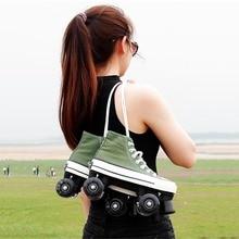 Skating-Shoes Roller-Skates Two-Line Adult LED JK Kid Unisex Canvas Cement-Road