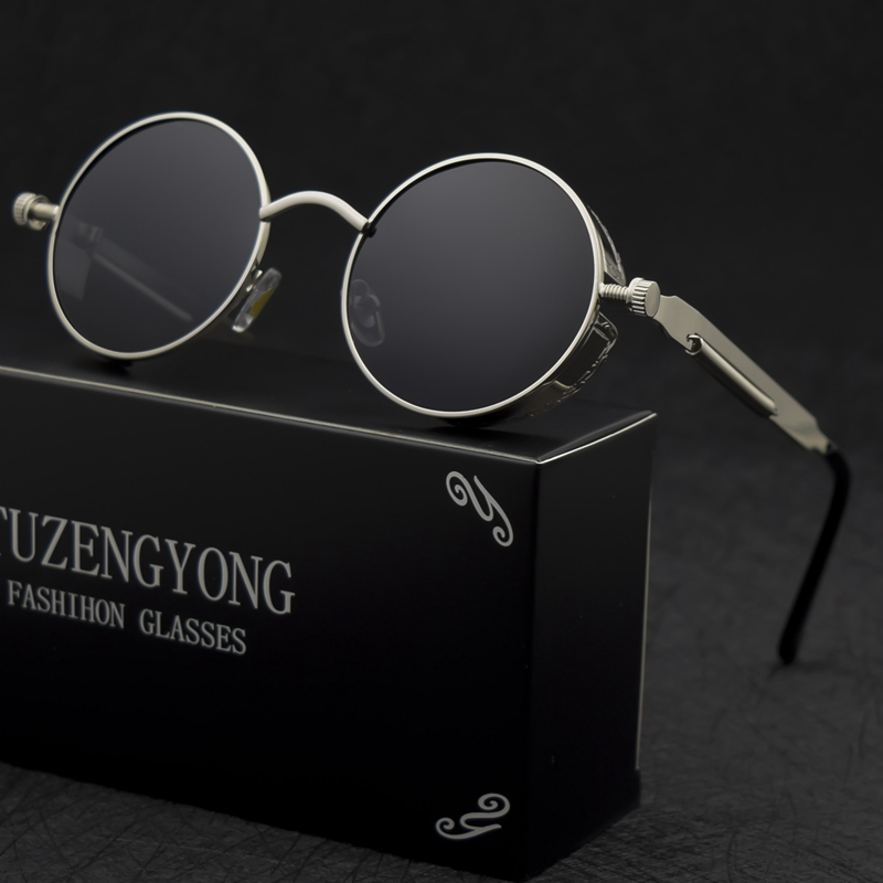 Classic Gothic Steampunk Sunglasses Polarized Men Women Brand Designer Vintage Round Metal Frame Sun Glasses High Quality UV400 4