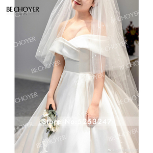 Image 5 - Sweetheart Off Shoulder Satin Wedding Dress Appliques A Line Court Train BECHOYER I193 Princess Bridal Gown Vestido de novia