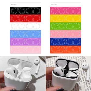 Image 1 - 6 pares de coloridos adhesivos protectores de la piel a prueba de polvo protector para Apple auriculares airpods caja de carga E65E