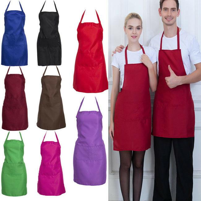 2pcs Adjustable Bib Apron Cooking Kitchen Restaurant Chef Dress with Pocket