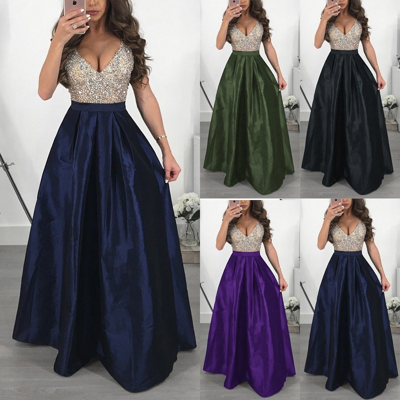 BacklakeGirls Contrast Color Sexy V Neck Sleeveless Satin Evening Dress Floor Length Sequined Prom Gowns Avondjurk Plus Size