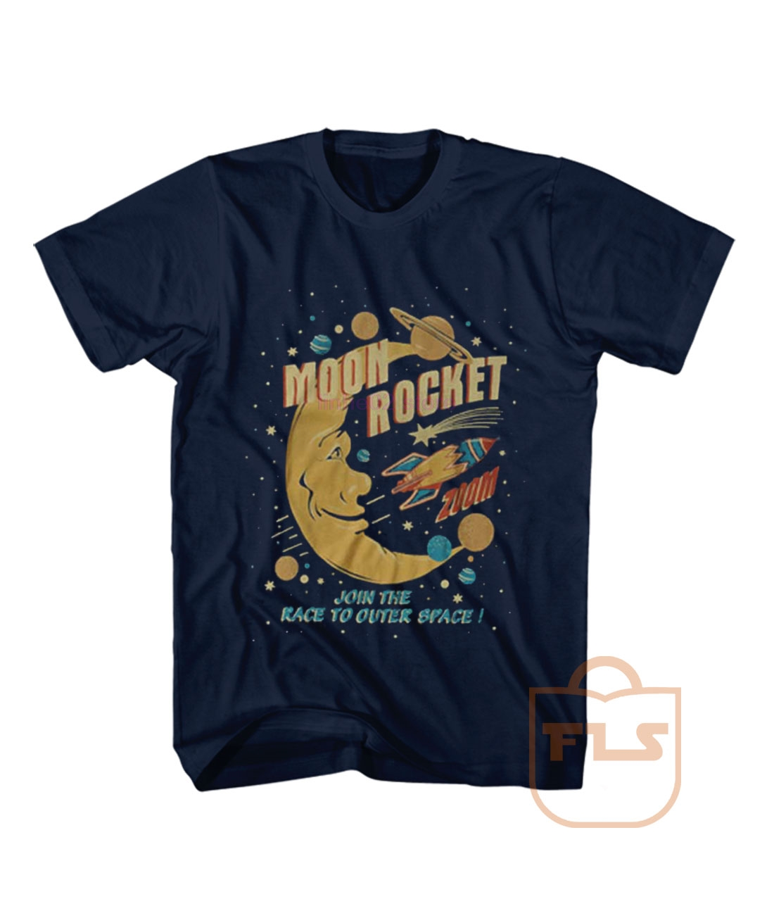 Moon Rocket Space T Shirt Round Neck Short Sleeve Casual T-shirt