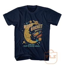Moon Rocket Space T Shirt Round neck short sleeve casual