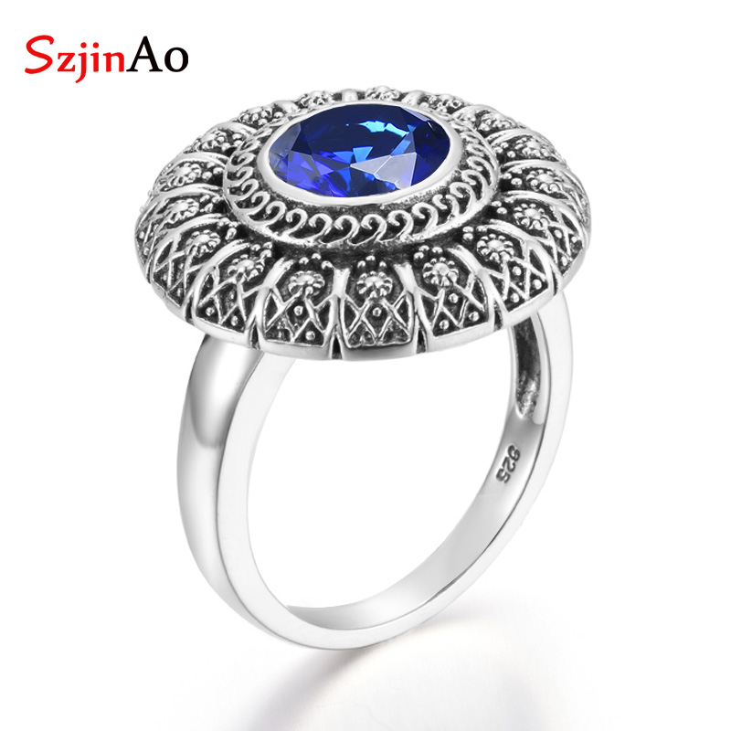 Szjinao Sapphire Ring Flower Round Gemstones Rings For Women Sliver 925 Elegant Carve 2020 Branded Fine Jewelry Dropshipping