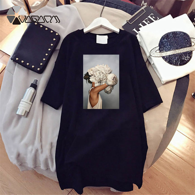Plus Size Women Summer Dresses Elegant Beauty Print Short Sleeve T-shirts Casual Loose Mini Woman Dress Tee Vestido Mujer Robes 2