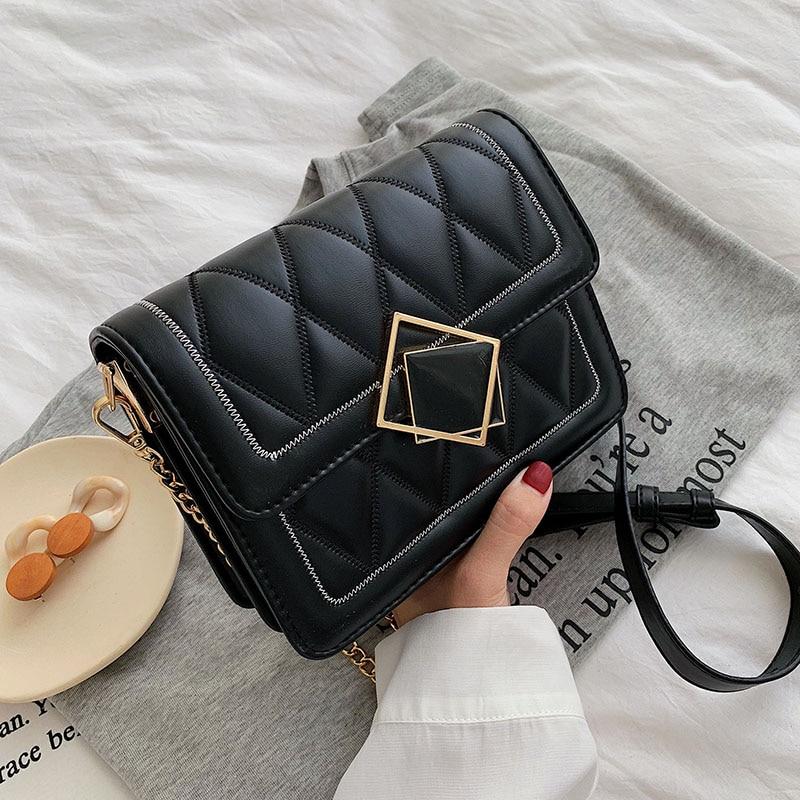 Designer Lock PU Leather Crossbody Bags For Women 2019 Chain Shoulder Messenger Bag Lady Cell Phone Handbags And Handbags