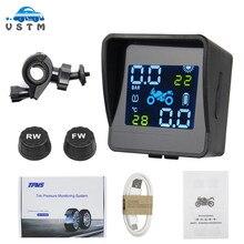 2021 USB Solar Lade Motorrad TPMS Motor Reifendruck Reifen Temperatur Überwachung Alarm System mit 2 Externe Sensoren