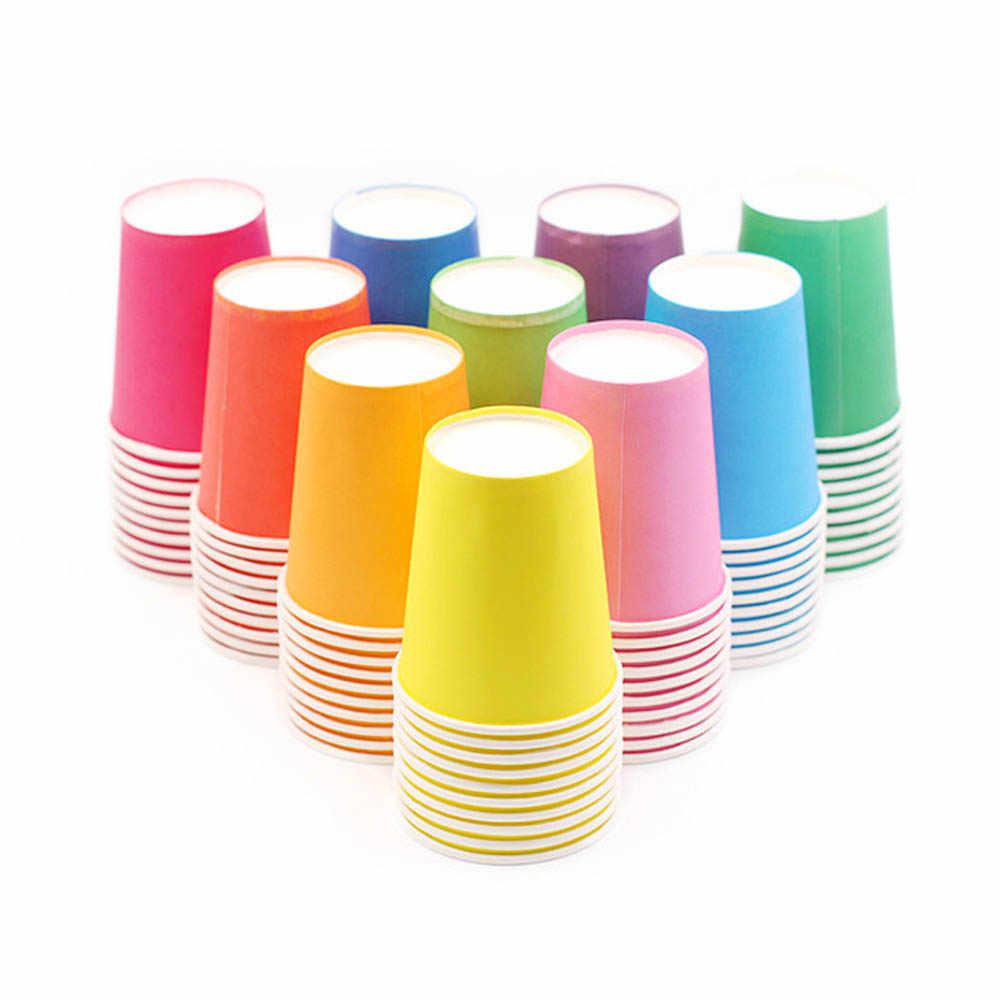 10 sztuk/zestaw DIY papierowe kubki wesele piknik stołowe kubki jednorazowe dekoracje Baby Shower Kids Birthday piknik kolorowe