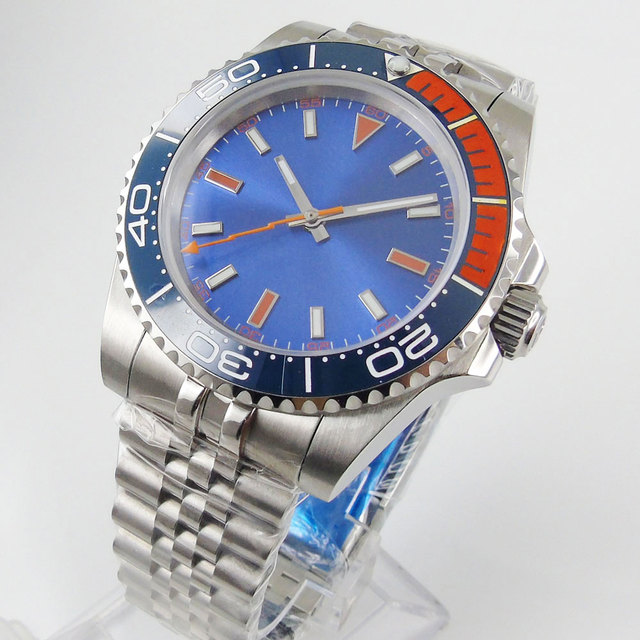 BLIGER niebieski mechaniczny zegarek męski szafirowe szkło jubileuszowy ruch MIYOTA obrotowa ramka