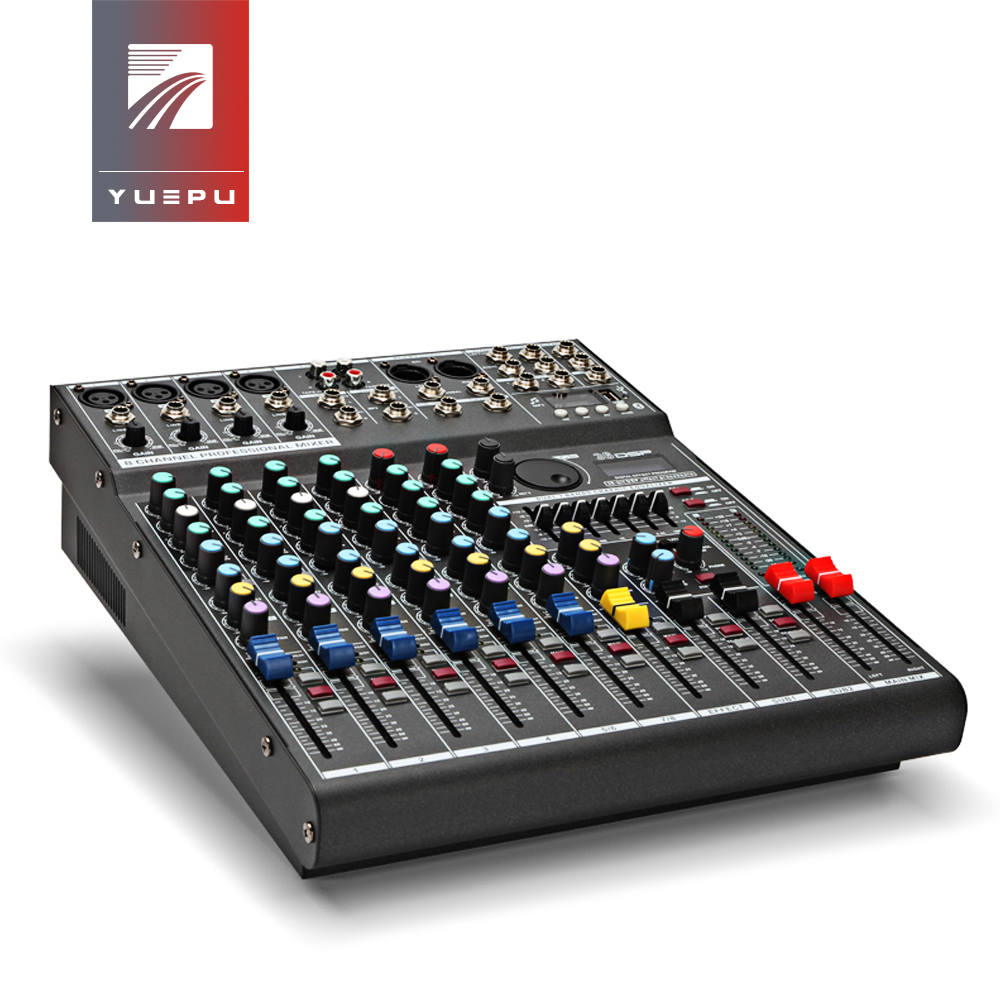 YUEPU RU-8T Pro Sound Audio Mixer Professional 8 Channel 48V Phantom Power Reverbration Mixing Console Player USB DSP FX Effects