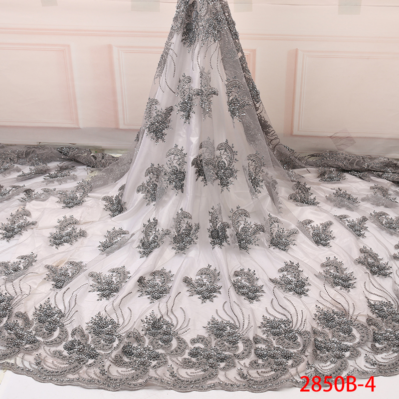 Handmade French Beaded Lace Fabrics,African Lace Fabric 2019,High Quality French Net Lace Fabric For Wedding Dresses KS2850B-4