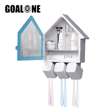 GOALONE Toothbrush Holder Multifunctional Wall Mounted Bathroom Storage Organizer Anti-dust Box with 6 Slots 3 Rinse Cup