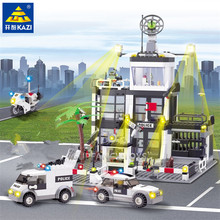 631Pcs City Police Station KAZI 6725 Building Blocks action figure baby toys for children building bricks city series pet flower shop guildhall city hall cinema bank bricks action building blocks children gift toys decool 1105 1109