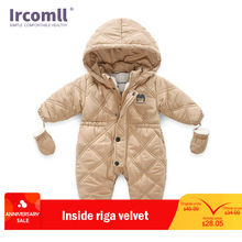 Ircomll Thick Warm Infant Baby Jumpsuit Hooded Inside Fleece Boy Girl Winter Autumn Overalls Children Outerwear Kids Snowsuit hh baby winter clothes girl romper warm jumpsuit baby overalls long sleeve hooded outerwear snowsuit baby boy winter overalls