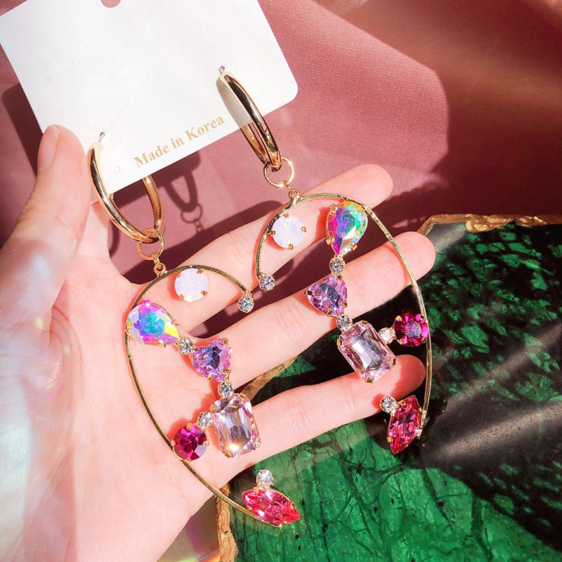 MENGJIQIAO Korean New Exaggerated Heart Crystal Drop Earrings For Women Students Luxury Pendientes Party Jewelry