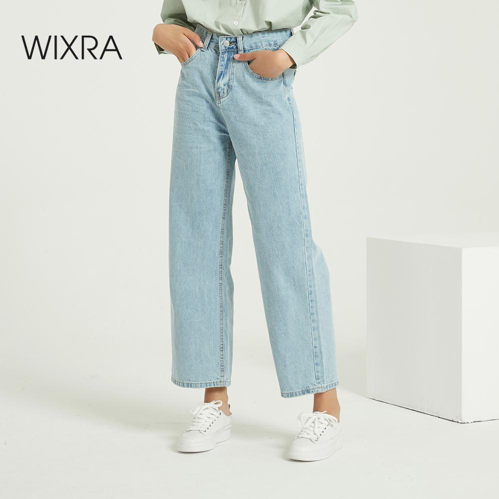 Wixra Casual Jeans Pants High Waist Loose Full-length Leisure Hole Denim Trousers Spring Autumn Women's Clothing