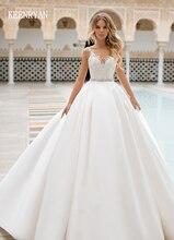 新着セクシーな A ラインサテンのウェディングドレス 2020 V ネックレースアップイリュージョン花嫁衣装 Vestido デ · ノビアプラスサイズ