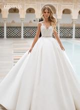 New Arrival Sexy A Line Satin Wedding Dress 2020 V Neck Lace Up Illusion Bridal Gown Vestido de Novia Plus Size