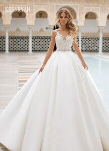 Image 1 - Nova chegada sexy a linha de cetim vestido de casamento 2020 v neck rendas até ilusão vestido de noiva vestido de novia plus size