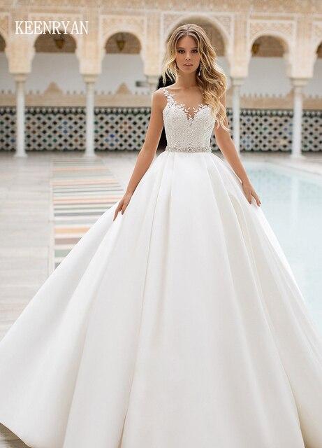 وصول جديد مثير a line الساتان فستان الزفاف 2020 الخامس الرقبة الدانتيل يصل الوهم فستان زفاف Vestido de Novia حجم كبير