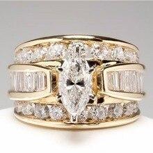 Diamond ring rose gold rings Crystal moissanite topaz Copper inlay zircon ladies Cubic zirconia Garnet B2965