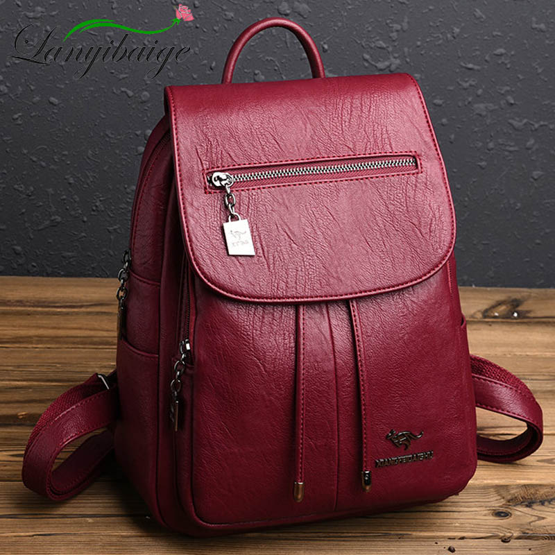 High Quality Women Leather Backpacks Female Shoulder Bag Sac a Dos Travel Ladies Bagpack Mochilas School Bags For Girls Preppy-in Backpacks from Luggage & Bags