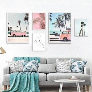 Tropikalny Ocean plaża palma plakat na płótnie dekoracja ścienna z krajobrazem obraz z nadrukiem dekoracja nordycka obraz skandynawski Home Decor