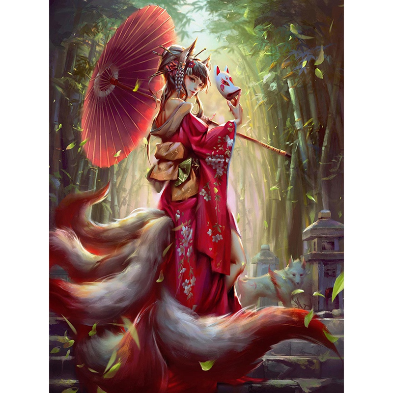 Japanese Diamond Painting Portrait Nine-Tailed Fox Picture Rhinestone Full Round Diamond Embroidery Cartoon Home Decoration image