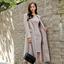 Autumn Spring New Korean Women Dresses Suit Knee Length Long Trench Coat and Dress Female Two Piece Blazer Set