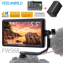 FEELWORLD FW568 5.5 インチ 4 18K Hdmi カメラフィールドデジタル一眼レフモニター小型フル Hd 1920 × 1080 の ips ビデオフォーカス + NP750 バッテリー + 充電器