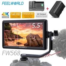Feelworld fw568 5.5 polegada 4 k hdmi no campo da câmera dslr monitor pequeno hd completo 1920x1080 ips foco de vídeo + bateria np750 + carregador